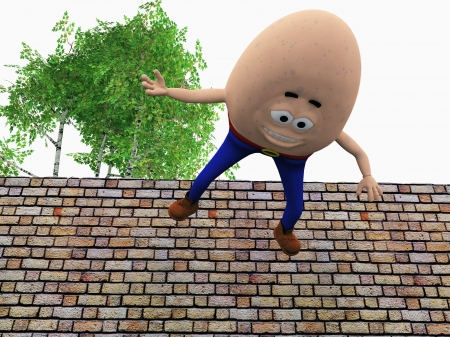 mishap: Humpty Dumpty had a great fall, rendered interpretation of child s nursery rhyme  Stock Photo