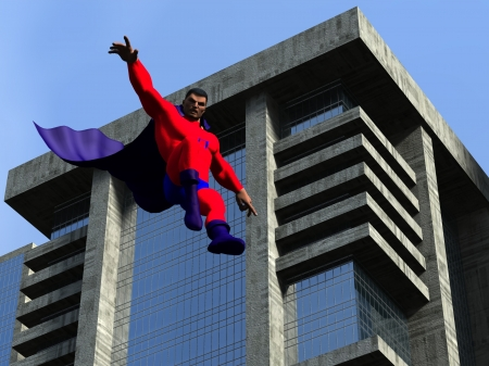 Flying superhero in urban setting decends from the sky  photo