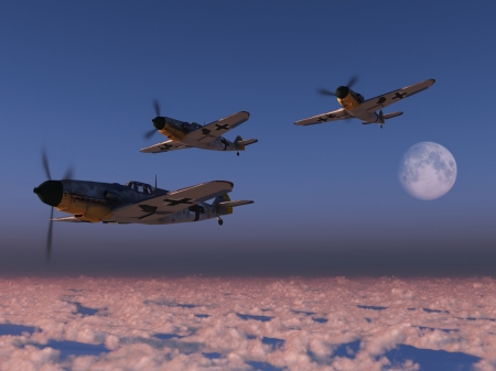 Digital render of Luftwaffe Messerschmitt fighter aircraft over clouds at sunset photo