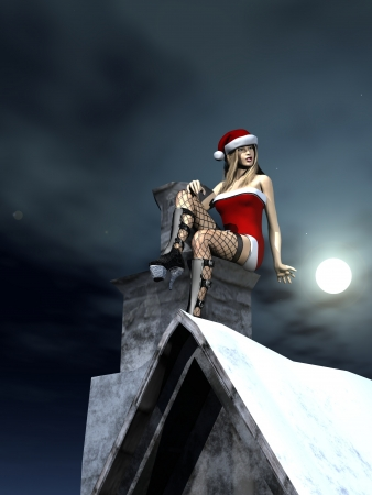 Digital render of female model in sexy Santa outfit perched on chimney over snow covered roof  photo