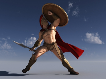 Digital render of Spartan warrior with shield held for protection from arrows pictured against blue sky  photo