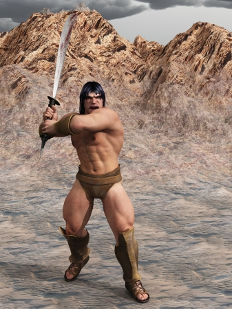 Digital render of powerful barbarian warrior with bloody sword in two handed grip Stock Photo