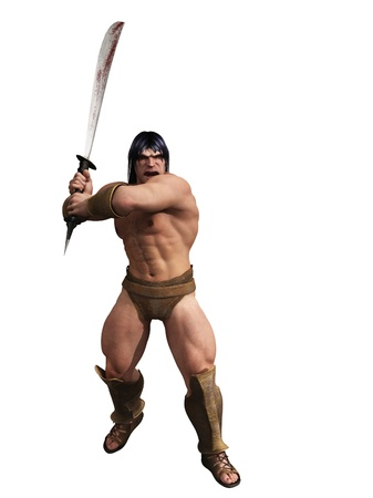 Digital render of powerful barbarian warrior with bloody sword in two handed grip and isolated on white