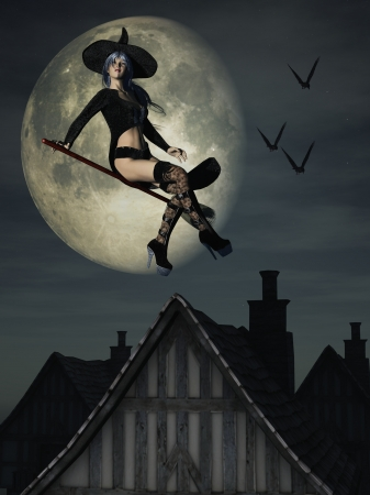 witches: Digital render of sexy Halloween witch flying over rooftops with large moon in background