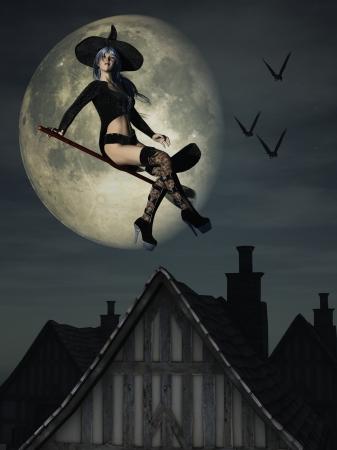escoba: Procesamiento digital de la sexy bruja de Halloween volando sobre los tejados con gran luna en el fondo
