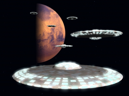 Rendered image of an invasion fleet of flying saucers leaving Mars