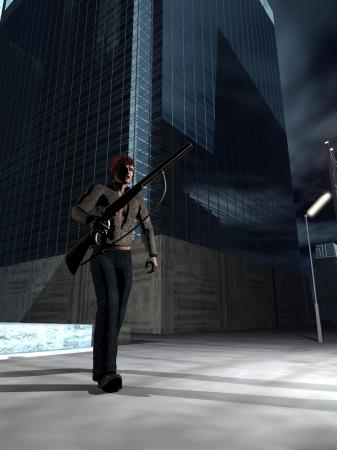 vigilante: Digital render of armed vigilante or criminal walking the city streets at night