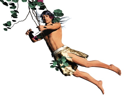 tarzan: Tarzan, king of the jungle, swinging on a vine, isolated on white Stock Photo