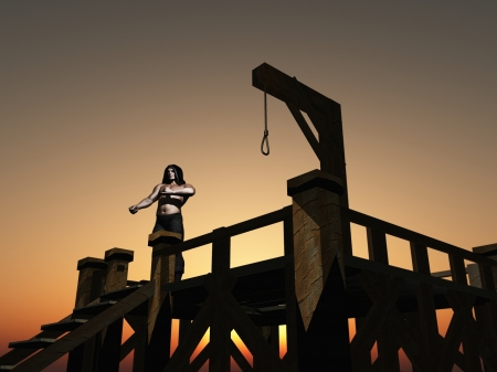 Digital render of hooded executioner waiting on the steps of the gallows Stock Photo