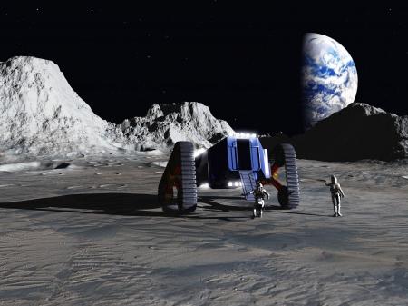 astronauta: Figuras espaciales adecuados desembarcar de rover lunar para contemplar el planeta Tierra