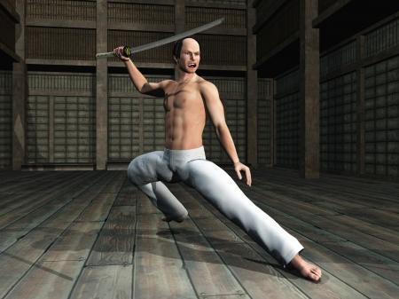 kendo: Samurai warrior practices with katana in dojo