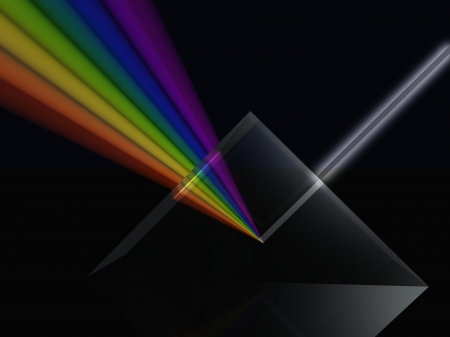 White light been split to form a colour spectrum by a glass prism photo