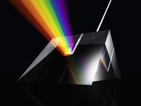 White light been split to form a colour spectrum by a glass prism Stock Photo