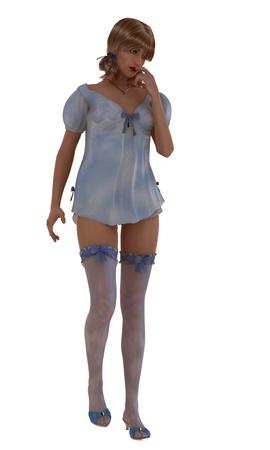 ligueros: Rindi� la ilustraci�n del modelo femenino atractivo con las coletas en polvo beb� vestido de noche azul y medias mu�eca Foto de archivo