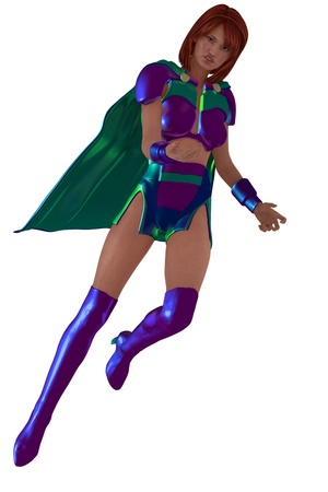 knee boots: Flying female superhero figure in skimpy shiny costume knee high boots and cape Stock Photo