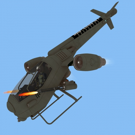 aircraft landing: Futuristic helicopter like aircraft with swivel jet engines allowing vertical takeoff and landing firing twin Gatling guns isolated on blue for easy extraction Stock Photo