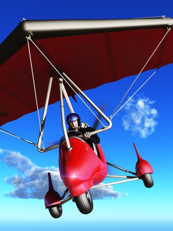 hang glider: Bucket list concept elderly man laughing as he pilots microlight aircraft