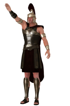 Roman soldier giving the hand raised salute Stock Photo