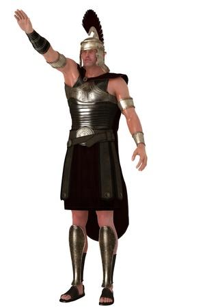 cascos romanos: Soldado romano que da la mano levantada saludo Foto de archivo