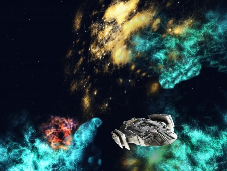 scifi: Futuristic interstellar spaceship against a background of stars an nebulae