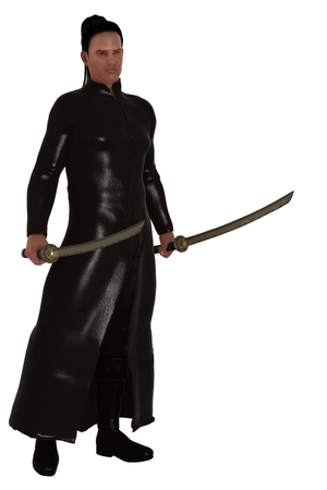 Fantasy assassin dressed in black leather with full length trench coat holding matching samurai swords