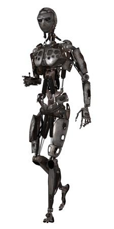 Scifi  mechanical man walking