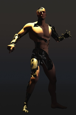 cyborg: Rendered image showing mechanical man of human appearance with skin removed in places to reveal the machinery underneath