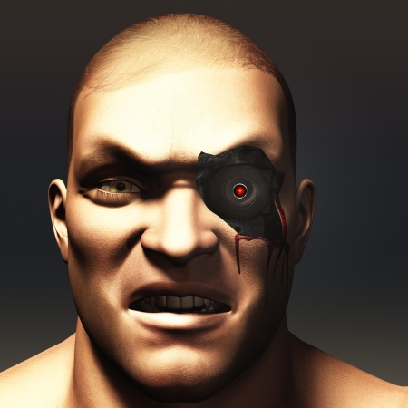 Portrait of cyborg of human appearance with skin removed to reveal glowing mechanical eye underneath photo