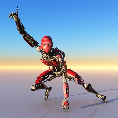 sf: Red robot pointing to the sky on reflective surface with dawn sky background