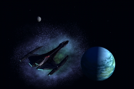 Spaceship descends to the elliptic plane of alien solar system with earth like planet