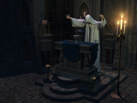 cowl: Occult priest in hooded white robe with arms outstretched performs ceremony at altar with chalice and dagger Stock Photo