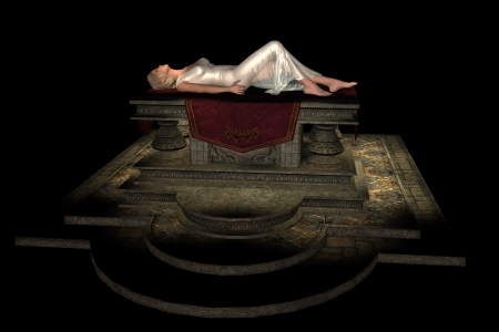 Beautiful blonde virgin in white diaphanous gown lying on stone sacrificial altar