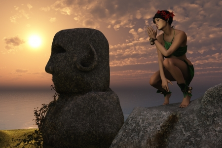 loincloth: Girl in leafy clothing rests on rock near Easter Island style statues overlooking the ocean at sunset