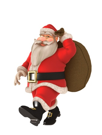 Toon Santa with twinkling eyes and glasses carrying toy sack photo