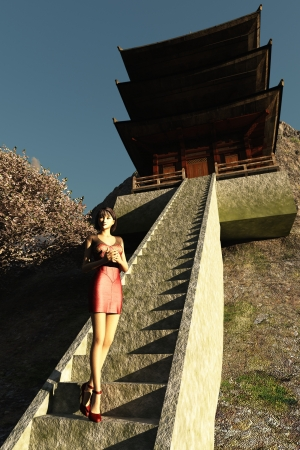 Rendered oriental girl in red dress and high heels on steps to mountain wooden temple photo