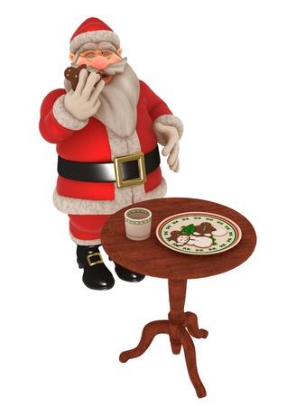 Santa munches on gingerbread man  photo