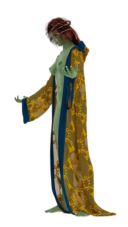 Green skinned alien priestess with metal crown and long flowing open robe isolated