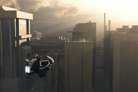 Cop in science fiction flying pursuit craft flies to the scene of the crime as dawn breaks over futuristic city