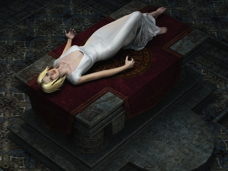 Overhead view of blonde virgin in diaphanous white gown lying drugged on stone altar