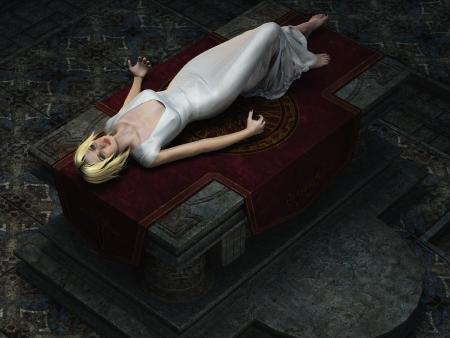 sacrificio: Vista a�rea de la virgen rubia en vestido blanco di�fano yac�a drogado en el altar de piedra Foto de archivo
