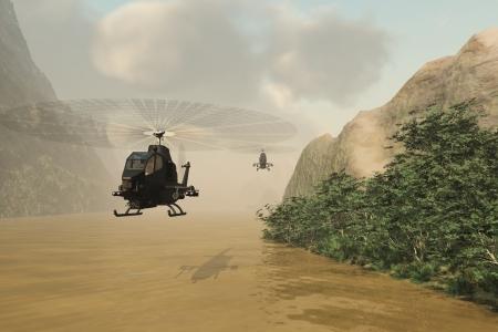 d�tection: Les h�licopt�res arm�s sans marquage volant bas au-dessus de la rivi�re boueuse pour �viter la d�tection radar Banque d'images