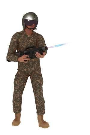 futuristic man: Science fiction rebel in camouflage outfit and helmet firing blaster weapon