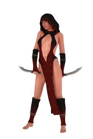 female assassin: Fantasy hooded female assassin in revealing dress with twin knives