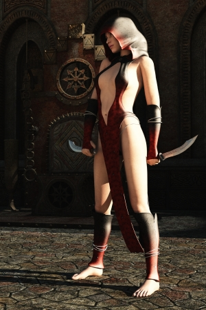 female assassin: Fantasy hooded female assassin in revealing dress with twin knives waits in throne room Stock Photo