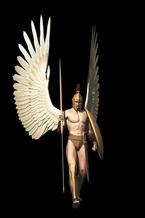guerrero: Guerrero con alas con lanza y escudo griego aislado en negro