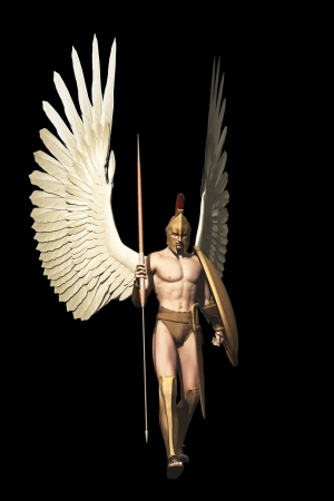 Winged warrior in with Grecian spear and shield isolated on black