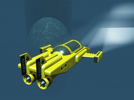 Mini two man submarine using spotlights to examine oil rig supports Stock Photo