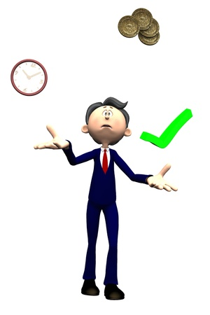 juggles: Isolated toon project manager figure with worried expression juggling time cost and quality Stock Photo