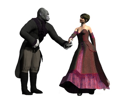 Based on the fairytale a couple in period clothing she is beautiful and he is an ape bowing and extending his hand