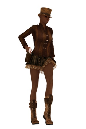 underskirt: Dark skinned female in retro steampunk clothing drawing sidearm from holster